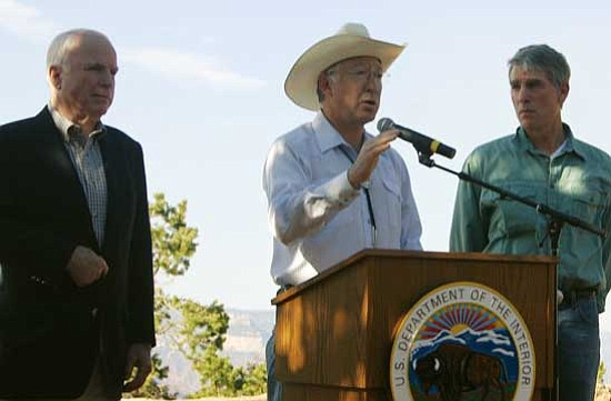 <i>Patrick Whitehurst/NHO</i><br> Pictured from left to right are Sen. John McCain, Interior Secretary Ken Salazar, and Sen. Mark Udall at Grand Canyon Aug. 21.