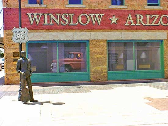 """<i>Courtesy photo</i><br> The famous """"Standin' on the Corner"""" Park in downtown Winslow."""