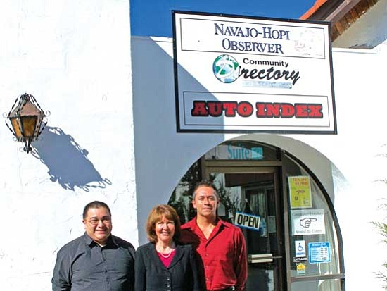 Rep. Ann Kirkpatrick (center) stands with Navajo-Hopi Observer staff members Wells Mahkee Jr. (left) and Brandon Garibay last Friday afternoon. Rep. Kirkpatrick visited the NHO to discuss some of her recent work in Congress, including introduction of the Indian Veterans Housing Opportunity Act of 2009.