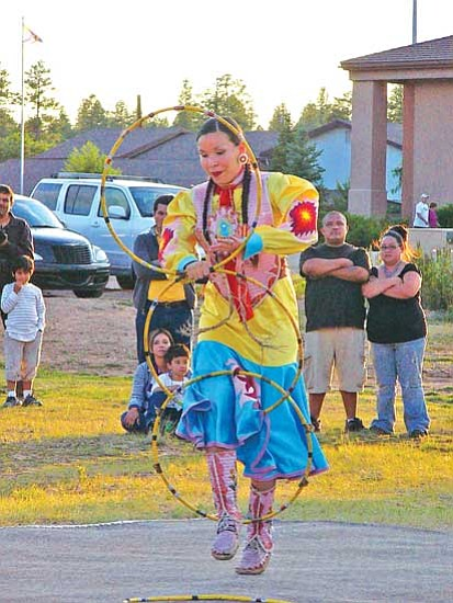 <i>S.J. Wilson/NHO</i><br> Violet Duncan, first place winner in the Women's Hoop Dance category.
