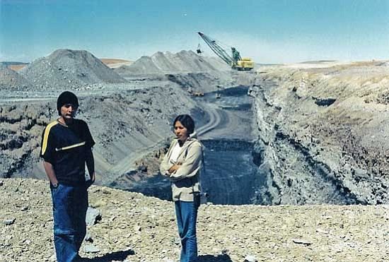 <i>Black Mesa Water Coalition photo</i><br> Roberto Nutlouis (left) and Lillian Hill at the Black Mesa Mine coal mine before it was closed.