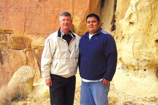 <i>HEEF courtesy photo</i><br> University of Arizona (UA) President Robert Shelton (left) and UA alumni Sam Tenakhongva.