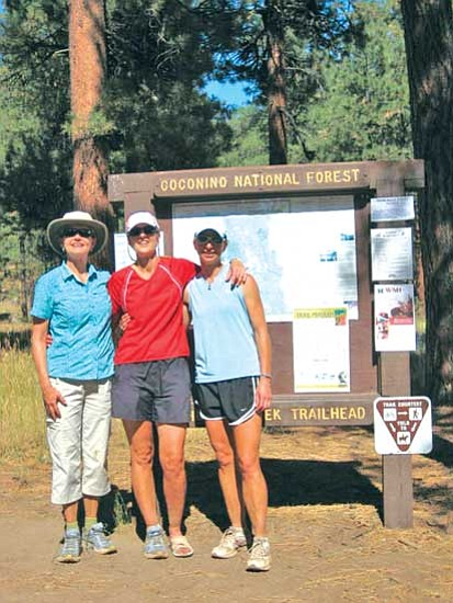 <i>Photo by Stan Bindell/NHO</i><br> The ambitious hikers are, from left, Fay Fisk, Jan Newton and Fon Cordasco. Those not in the photo, but part of the hike, were Corey Hartman and Macrina McCullough.