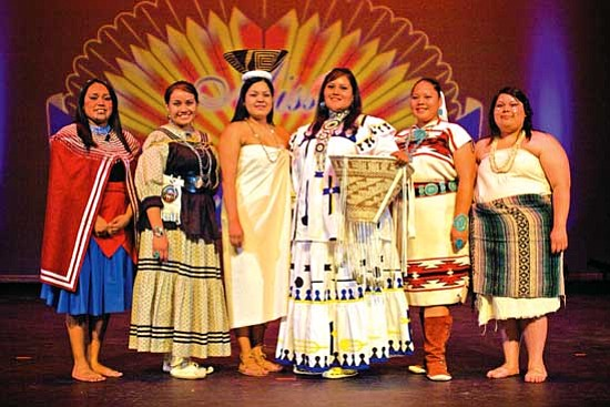 <i>Courtesy photo</i><br> The 2009-2010 Miss Indian Arizona candidates pose in their traditional attire. From left to right are: Tayla Tahbo, Mykhal Mendoza, Daryl Lynn Jay, Lanea Rose Burdette, Anseenia Shirley and Gionna Cooper.