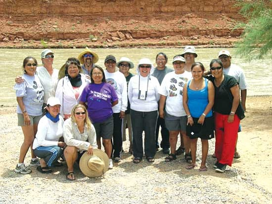 <i>Rosanda Suetopka Thayer/NHO</i><br> Female participants and river guides who participated in the 2009 San Juan River trip pause for a photo. The trip allowed Hopi tribal members to document water, climate and vegetation shifts in the San Juan River. Information gathering has been ongoing since 1992.