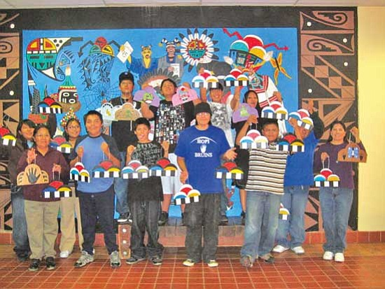 <i>Stan Bindell/NHO</i><br> Hopi High art students pose with their Christmas ornaments, which will be displayed on this year's capitol Christmas tree in Washington, D.C.