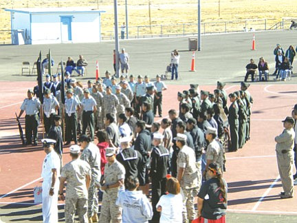 Photo by Cadet Corporal Zachary Youvella<br /><br /><!-- 1upcrlf2 -->A view of the cadets from participating schools as they stand at parade rest.