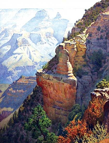 <i>Image courtesy of the MNA Fine Arts Collection, C816</i><br> On the Trail to Grandeur Point, 20x15 watercolor, c. 1930