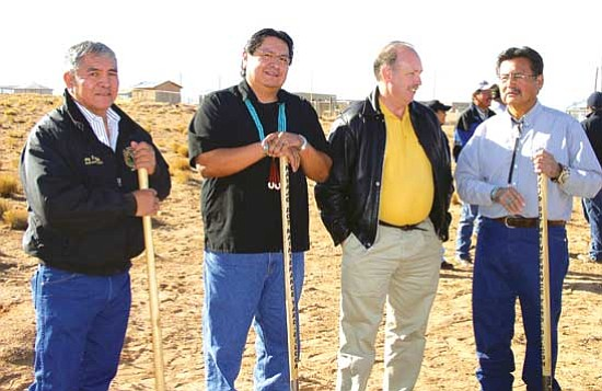 <i>Courtesy photo</i><br>Elected officials from Navajo County and the Navajo Nation celebrated the dedication and ground breaking of a new road maintenance facility in Dilkon, cooperatively funded by Navajo County and the Navajo Nation, on November 9, 2009. From L: Council Delegate Jerry Freddie, District I Supervisor Jonathan M. Nez, County Attorney Brad Carlyon and District II Supervisor Jesse Thompson.