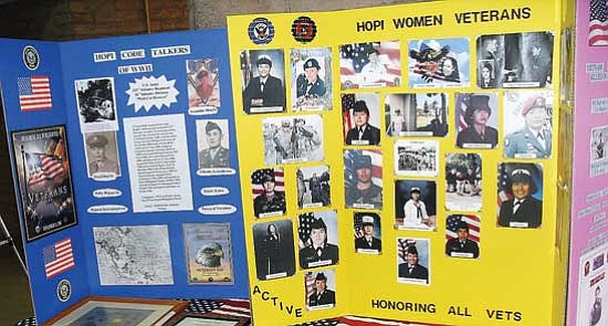 <i>Rosanda Suetopka Thayer/NHO</i><br> A display table shows a brief history of the Hopi Code Talkers along with a presentation honoring Hopi women veterans.