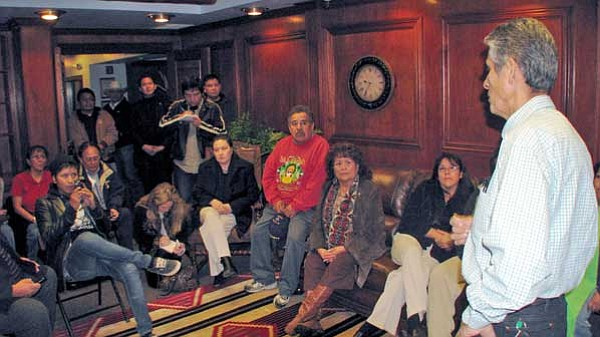 """<i>Courtesy photo</i><br> President Shirley meets with about 25 supporters, staff members and reporters at the President's office after it was announced that the Window Rock District Court declared the resolution placing President Shirley on administrative leave """"null and void, and therefore unenforceable."""""""