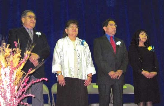 From left to right: Hopi Tribal Chairman LeRoy Shingoitewa, Mavis Shingoitewa, Hopi Vice Chairman Herman Honanie and Arlene Honanie shared the stage at the Hopi Veteran's Memorial Center on Dec. 7.