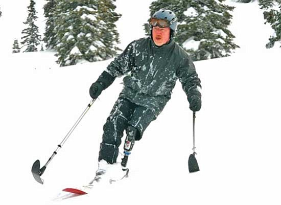 <i>U.S. Army photo</i><br /><br /><!-- 1upcrlf2 -->Lt. Col. (Ret.) Dennis Walburn, who lost his left leg to an improvised explosive device during a tour in Iraq, demonstrates his adaptive skiing skills at Steamboat Springs, Colo., in January.