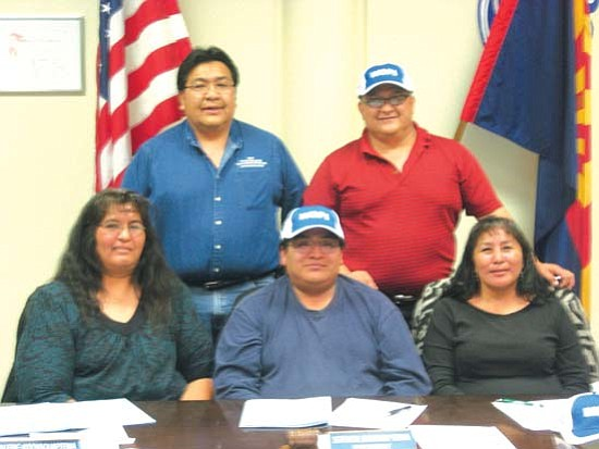 <i>Photo by LeAnna Leyva</i><br> Hopi Jr/Sr High School Governing Board members, from left, (top row) Edgar Shupla and Tommy Canyon; and (bottom row) Valerie Koiyaquaptewa, President Steve Bahnimptewa and Jacelyn Schulavichie.