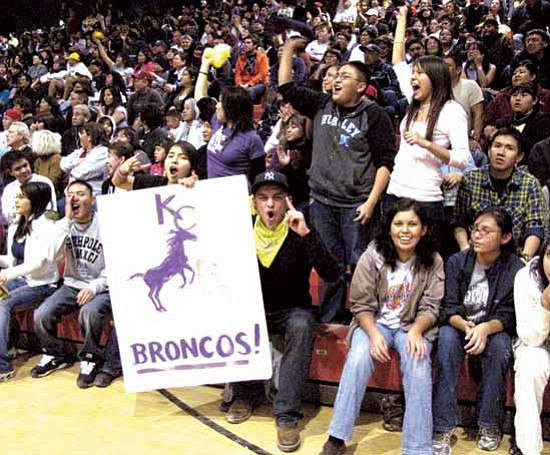 Kirtland Central Bronco fans erupt as the game concludes. The Lady Broncos remain on top of the New Mexico state 1-4A standings with their win over the Shiprock Lady Chieftains, 63 to 51.