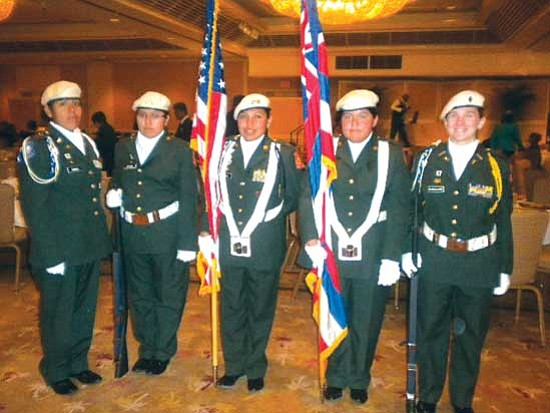 <i>Courtesy photo</i><br> The Hopi JROTC honor guard posted colors at the NAACP banquet. Participating cadets included Cadet Captain Wendy Koinva, Cadet Command Sergeant Major Amber Naha, Cadet Private First Class Gabrielle Tovar, Cadet Major Whitney Damgaard and Cadet Private First Class Brandi Navenma.