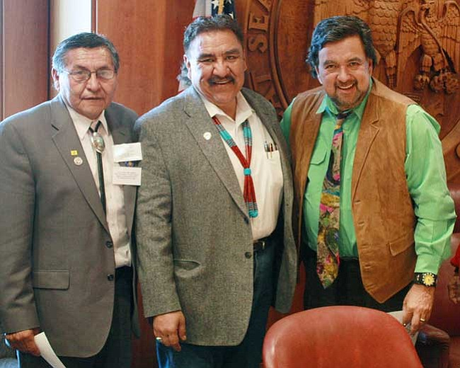 <i>Photo by Joshua Lavar Butler</i><br> Navajo Nation Vice President Ben Shelly (left) and Council Speaker Lawrence T. Morgan (center) met with New Mexico Gov. Bill Richardson in Santa Fe, N.M. on Feb. 5 to discuss state funding.