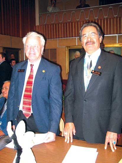 <i>Stan Bindell/NHO</i><br> Arizona State Rep. Tom Chabin (left) and Sen. Albert Hale voted to send a proposed sales tax to the voters for consideration.