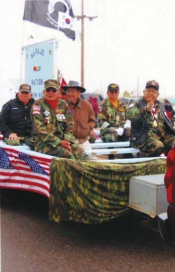 <i>Photo by Pat Carr</i><br> Members of the Navajo Nation Western Agency Veterans participated in the Iwo Jima flag raising commemoration in Sacaton, Ariz.