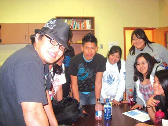 <i>Stan Bindell/NHO</i><br> Navajo magician Myg Blade (at left) showed tricks before and after being interviewed on the Hopi High Teen Show.