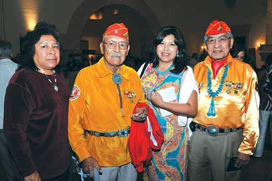 <i>Courtesy photo</i><br> From left: Yvonne Tso, daughter of Samuel Tso; Navajo Code Talker Samuel Tso; Hope MacDonald Lone Tree, daughter of Peter MacDonald Sr.; and Navajo Code Talker Peter MacDonald Sr.