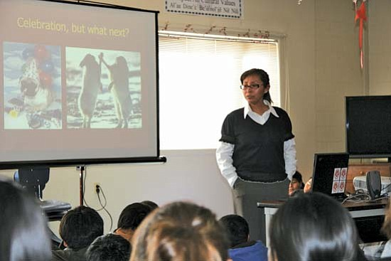 <i>Photo by Vernon L. Davis</i><br> Dr. Vanessa Jensen of Grey Mountain speaks to students at Tuba City Boarding School about her upbringing, education and personal experiences as a surgeon at Tuba City Regional Health Care Corporation.
