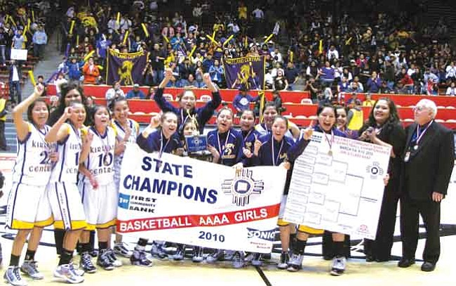<i>Anton Wero/NHO</i><br> <b>The 2010 New Mexico Class 4A State Girls Basketball Champion Kirtland Central Lady Broncos</b>: (not in order) Tasheena Tyler, Monica Yazzie, Raquel Woody, Wynonna Jim, Taylor Bennett-Begay, Olivia Harris, Ona Raymond, Karley Dodge, Taradena Mitchell, Amanda Kerr, Danielle Murdock, Meghan Yazzie, and Head Coach Charles Kromer and assistants Jaimey Tanner, Jacque Begay, Shantel Begay and Tasha Begay.