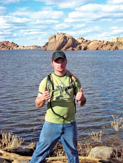 <i>Stan Bindell/NHO</i><br> Nick Basham at Peavine Trail with Watson Lake in background.