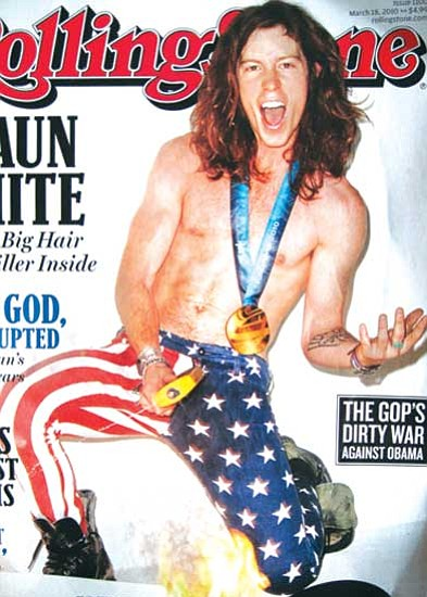 <i>Rosanda Suetopka Thayer/NHO<i><br> Olympic gold medal snowboarder Shaun White on the cover of the latest edition of Rolling Stone magazine.