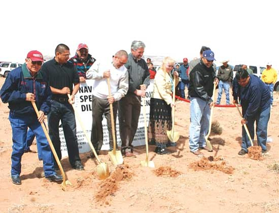 <i>Courtesy photo</i><br> Officials participating in groundbreaking ceremonies for the new Dilkon Wellness Center on April 5 included (from left to right): Anslem Roanhorse, Director, Division of Health; Vincent Nelson with Loren Sadler Artchitects; (behind sign) Randall Comb, NNSDP; Jerry Bryant, US Modular Building; Todd Johnson, Sierra Building Systems; Carol J. Davis, CDC, Dilkon Chapter; Council Delegate Elmer Begay; and Rudie L. John, Secretary Treasurer, Dilkon Chapter.