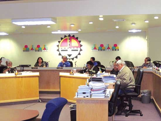Hopi Chairman LeRoy Shingoitewa calls for Hopi rangers to remove the four non-elected representatives from the Hopi council chambers after they refused to step down on their own during a council meeting on April 6.