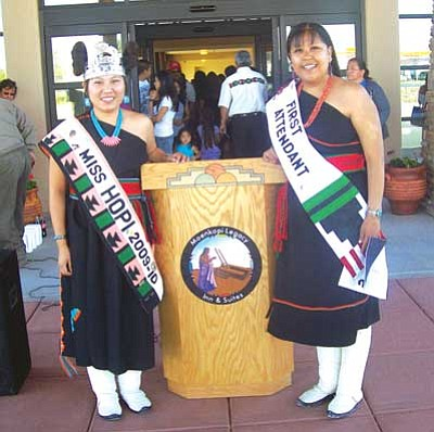 <i>Tyler Tawahongva/NHO</i><br> Miss Hopi Janelle Puhuyesva (left) and First Attendant Verna Thompson stand in front of the Moekopi Legacy Inn and Suites last week. A well-attended grand opening took place last Tuesday.