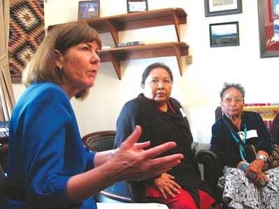 <i>Courtesy photo</i><br> Congresswoman Ann Kirkpatrick (left, D-Ariz.) meets with a delegation of lobbyists from the Dennehotso community who were lobbying for a new school.