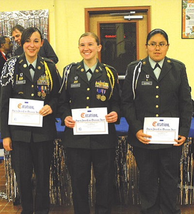 Cadet LTC Dominique Halwood, Cadet Maj. Whitney Damgaard and Cadet PFC Brandi Navenma were recognized at the Eighth Annual JROTC Military Ball for their high academic standing levels in the Hopi High JROTC program.