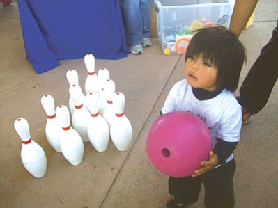 The Hopi Early Intervention Program from Kykotsmovi offered a bowling game for prizes, which ended up being a big hit with the children.