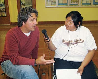 "<i>Stan Bindell/NHO</i><br> Arizona Highways Editor Robert Stieve was interviewed by Hopi High's LeAnna ""LeLe"" Leyva for public radio exchange (prx.org)."