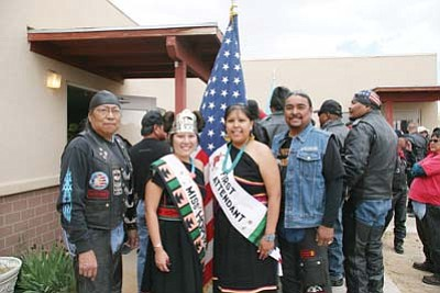<i>Rosanda Suetopka Thayer/NHO</i><br> Former Marine Sgt. Byron Poocha stands with Miss Hopi 2010, her First Attendant and Reggie Curry. Poocha and Curry, both of Tuba City, are two of the original Honor Riders from Tuba City who have ridden each year in honor of Lori Ann Piestewa. Piestewa's parents hosted a meal for the riders on May 18 at their home in Flagstaff.