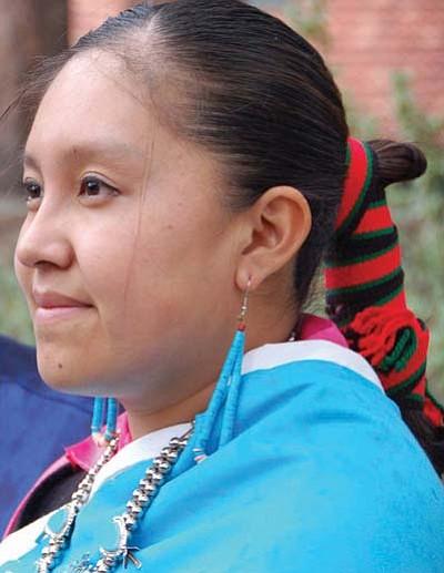 <i>Michele Mountain/MNA</i><br> Frida Unkestine of the Nawetsa Family Dancers.