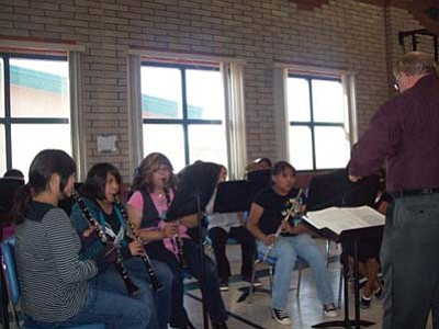 <i>Tyler Tawahongva/NHO</i><br> The Tuba City Jr. High band performs during their spring concert under the direction of band director Morris Nesmith.