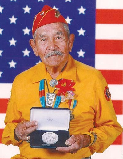 <i>Courtesy photo</i><br> Navajo Code Talker Lemuel B. Yazzie poses with his Congressional Silver Medal of Honor. Yazzie passed away May 28. He was 91.