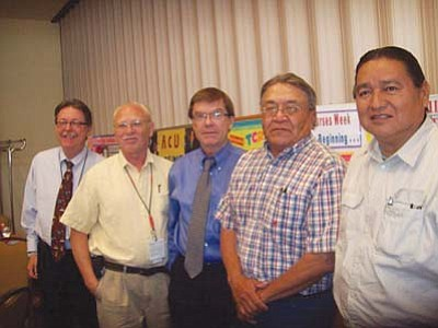 <i>Tyler Tawahongva/NHO</i><br> From left: John Pemberton, director of human resources; Alan Spacone, chief of medical staff; Joe Engelken, TCRHCC CEO; Grey Farrell, board president; and Dr. Alan Numkena, board member (Moenkopi).