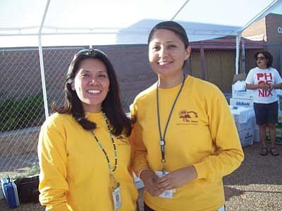<i>Tyler Tawahongva/NHO</i><br> Health Promotion Coordinator/Supervisor Robyn Maho and Health Promotion Specialist Brooke Holiday. The Health Promotion Program is one of three programs under the TCRHCC Department of Diabetes Treatment and Prevention Services.