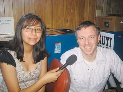 <i>Stan Bindell/NHO</i><br> Richard Davis (right) with Hopi High radio student.