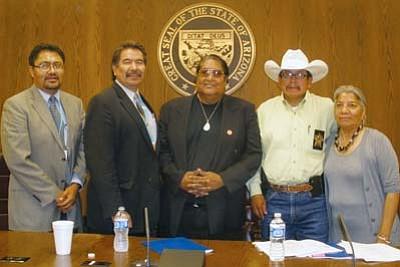 <i>Courtesy photo</i><br> From left to right: Leonard Gorman, Sen. Albert Hale, Ben Chee, Joe Dedman and Petra Falcon.