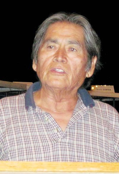 <i>Rosanda Suetopka Thayer/NHO</i><br> Vernon Masayesva, executive director for Black Mesa Trust was one of the tribal dignitaries who gave personal testimony as to the sacredness of the San Francisco Peaks during last week's Water Commission hearing.