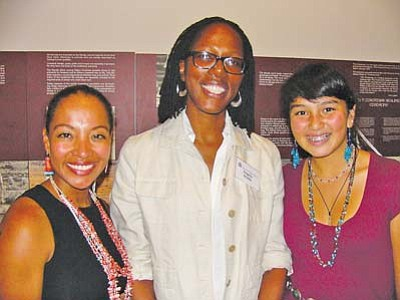 "<i>S.J. Wilson/NHO</i><br> Recording artist and former Miss Navajo Nation Radmilla Cody (left) stands with filmmakers Angela Webb (center) and Camille Manybeads Tso at the Museum of Northern Arizona's Navajo Festival. Webb produced the film, ""Hearing Radmilla"" while Tso wrote and directed ""In the Footsteps of Yellow Woman."""