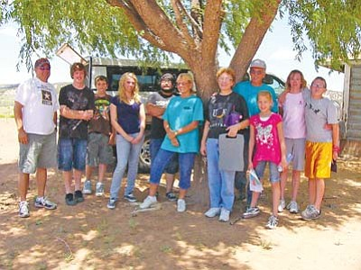 <i>S.J. Wilson/NHO</i><br> From left to tight: John Griffith, Jeff Crosby, Sean Griffith, Christin Thornton, Frankie Rocha, Sherry Miller, Deanna and Jerry Wright, Kyra Caulderwood, Jake Cornwell and Cheryl Cornwell are just some of the many individuals who came to the Navajo and Hopi reservations in July.