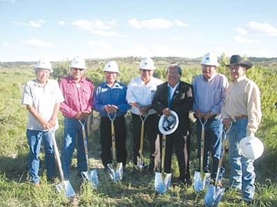 <i>Photo courtesy of Alastair Bitsoi</i><br> A traditional Navajo ground blessing ceremony was held for the new Navajo Division of Transportation Complex on Aug. 10 in Tse Bonito, N.M. Pictured here are members of the Transportation and Community Development Committee (TCDC) at the ground blessing ceremony.