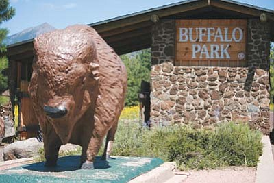 <i>Photo courtesy of Lisa Viotti</i><br> A life-size buffalo statue greets visitors to Flagstaff's Buffalo Park.