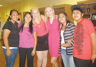 <i>Stan Bindell/NHO</i><br> Hopi High students pose with cast members from Up with People on Aug. 26.